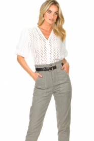 Dante 6 |  Openwork blouse with puff sleeves Kenzly | white  | Picture 4