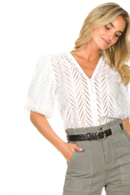 Dante 6 |  Openwork blouse with puff sleeves Kenzly | white  | Picture 8