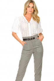 Dante 6 |  Openwork blouse with puff sleeves Kenzly | white  | Picture 5