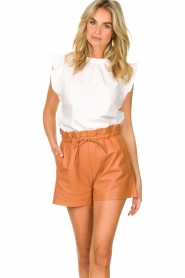 Dante 6 |  Leather shorts with drawstrings Palma | camel  | Picture 2