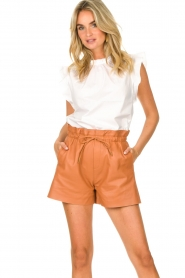 Dante 6 |  Leather shorts with drawstrings Palma | camel  | Picture 4