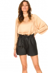 Dante 6 |  Leather shorts with drawstrings Palma | black  | Picture 4