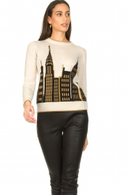 Nenette :  Printed sweater Mapple | natural - img2