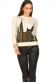 Nenette :  Printed sweater Mapple | natural - img5