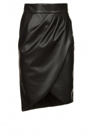 Nenette |  Faux leather midi skirt with pleats Gun | black  | Picture 1