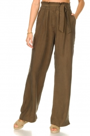 Dante 6    Trousers with tie waistbelt Garbo   green    Picture 4