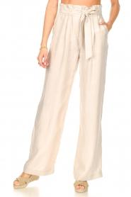 Dante 6 | Pantalon met strikceintuur Garbo | nude  | Afbeelding 4