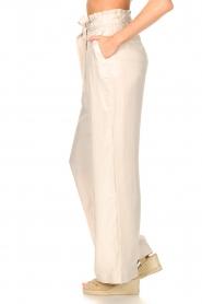 Dante 6 | Pantalon met strikceintuur Garbo | nude  | Afbeelding 5