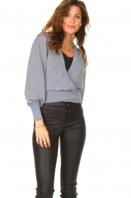 Dante 6 |  Top with wrap detail Valetta | blue  | Picture 5