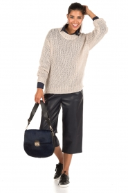 Cropped faux leather culottes | dark blue