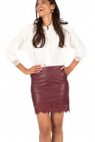 Faux leather skirt Alegandra | burgundy red