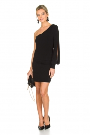 Patrizia Pepe | One sleeve jurk Mea | zwart  | Afbeelding 3