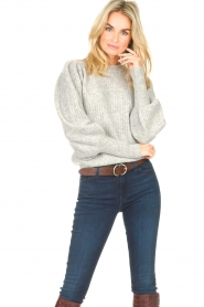 Notes Du Nord |  Knitted sweater with puff sleeves Avery | grey  | Picture 4