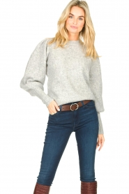 Notes Du Nord |  Knitted sweater with puff sleeves Avery | grey  | Picture 2