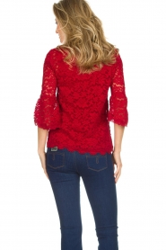 Rosemunde |  Lace top with trumpet sleeves Catherine | red  | Picture 4
