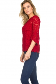 Rosemunde |  Lace top with trumpet sleeves Catherine | red  | Picture 3