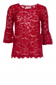 Rosemunde |  Lace top with trumpet sleeves Catherine | red  | Picture 1