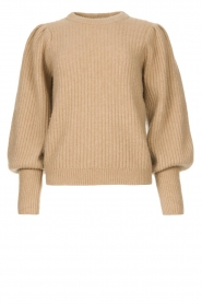 Notes Du Nord |  Knitted sweater with puff sleeves Avery | beige  | Picture 1