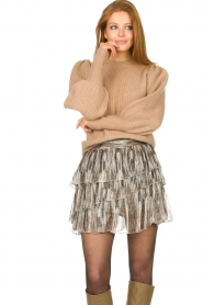 Notes Du Nord |  Knitted sweater with puff sleeves Avery | beige  | Picture 5