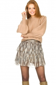 Notes Du Nord |  Knitted sweater with puff sleeves Avery | beige  | Picture 2