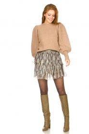 Notes Du Nord |  Knitted sweater with puff sleeves Avery | beige  | Picture 3