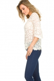 Rosemunde |  Lace top with trumpet sleeves Catherine | natural  | Picture 3
