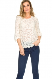 Rosemunde |  Lace top with trumpet sleeves Catherine | natural  | Picture 2