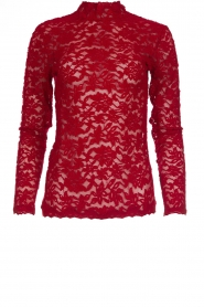 Kanten turtleneck top Mica | rood
