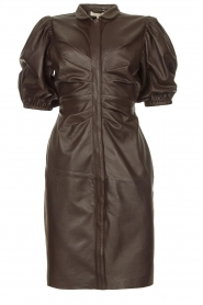 Notes Du Nord |  Lamb leather midi dress Amelia | brown  | Picture 1