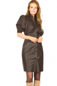 Notes Du Nord |  Lamb leather midi dress Amelia | brown  | Picture 6