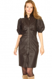 Notes Du Nord |  Lamb leather midi dress Amelia | brown  | Picture 4