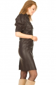 Notes Du Nord |  Lamb leather midi dress Amelia | brown  | Picture 7
