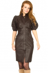 Notes Du Nord |  Lamb leather midi dress Amelia | brown  | Picture 2
