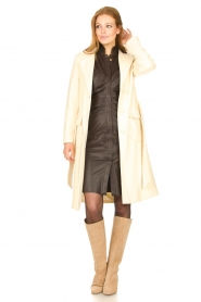 Notes Du Nord |  Lamb leather midi dress Amelia | brown  | Picture 3