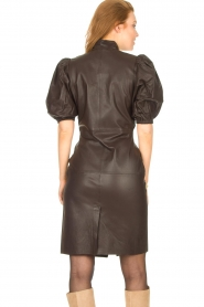Notes Du Nord |  Lamb leather midi dress Amelia | brown  | Picture 8