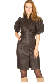 Notes Du Nord |  Lamb leather midi dress Amelia | brown  | Picture 5