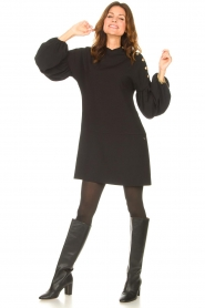 Kocca |  Dress with balloon sleeves Lynn | black  | Picture 3