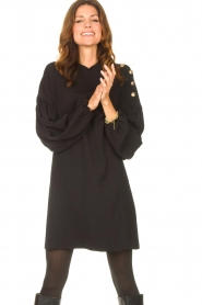 Kocca |  Dress with balloon sleeves Lynn | black  | Picture 2