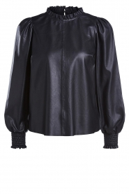 Set |  Leather top with puff sleeves Jill | black  | Picture 1