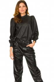 Set |  Leather top with puff sleeves Jill | black  | Picture 2