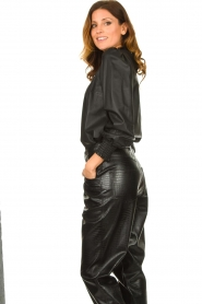 Set |  Leather top with puff sleeves Jill | black  | Picture 4