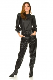 Set |  Leather top with puff sleeves Jill | black  | Picture 3