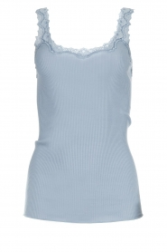 Rosemunde |  Silk top with lace Liv | Blue  | Picture 1