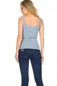 Rosemunde |  Silk top with lace Liv | Blue  | Picture 5