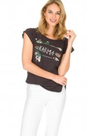Leon & Harper | Biologisch katoenen T-shirt Taza Zen | grijs  | Afbeelding 2