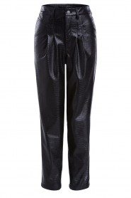 Set |  Faux leather pants with animal print Lilly | black  | Picture 1