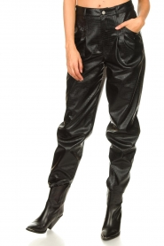 Set |  Faux leather pants with animal print Lilly | black  | Picture 5