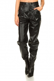 Set |  Faux leather pants with animal print Lilly | black  | Picture 4