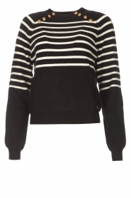 Kocca |  Knitted sweater with striped Silvana | black  | Picture 1