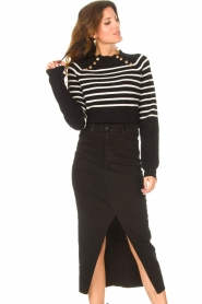 Kocca |  Knitted sweater with striped Silvana | black  | Picture 2
